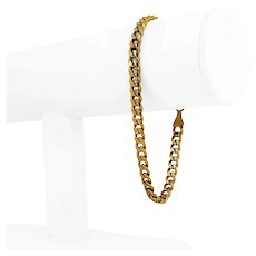 "10k Yellow Gold 7.4g Hollow 5.5mm Cuban Curb Link Bracelet Italy 8"""