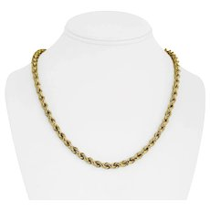"""14k Yellow Gold 10.4g Light Hollow 5mm Rope Chain Necklace 20"""""""