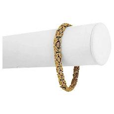 "14k Yellow Gold 7.8g Ladies 8mm Byzantine Link Bracelet Italy 7"""