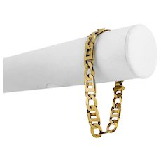 """14k Yellow Gold 39.2g Solid 10mm Alternating Curb and Gucci Link Bracelet 8.5"""""""