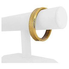 "14k Yellow Gold 23.5g Ladies 15.5mm Satin Finish Fancy Bangle Bracelet Italy 7"""