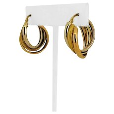 18k Yellow White Rose Gold 6g Tri Tone Rolling Hoop Huggie Earrings Italy