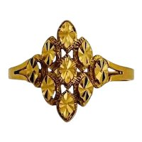 18k Yellow Gold 3.5g Ladies Diamond Cut Marquise Shaped Ring Size 11