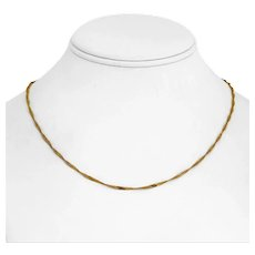"""22k Yellow Gold 4.1g Thin 1.7mm Ladies Twisted Curb Link Chain Necklace 18"""""""