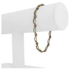 "18k Yellow White Gold 7g Two Tone Fancy Beaded Bar Link Bracelet Italy 7.5"""