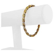 """14k Yellow Gold 12.5g UnoAErre 5.5mm Ribbed Twisted Bangle Bracelet Italy 7.25"""""""