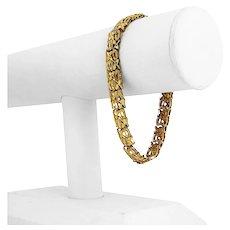 "14k Yellow Gold 10.9g Ladies Sparkling 9mm Diamond Cut XO Link Bracelet 7.5"""