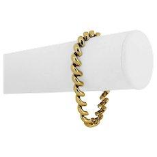 "14k Yellow Gold 16.9g Ladies 8mm Macaroni San Marco Link Bracelet Italy 7.25"""