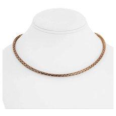 "14k Rose Gold 5.2g Milor Light 3.5mm Braided Open Link Necklace Italy 18"""