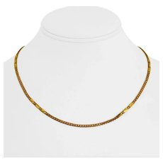 """22k Yellow Gold 11.2g Ladies 2.5mm Fancy Link Diamond Cut Station Necklace 18"""""""