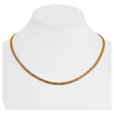 """22k Yellow Gold 17.3g Solid 3mm Diamond Cut Double Franco Link Necklace 18.5"""""""