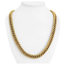 """18k Yellow Gold 64.8g Hollow Thick 10mm Fancy Curb Link Chain Necklace Italy 24"""""""