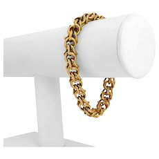 """18k Yellow Gold 56.9g Solid Heavy 10mm Fancy Circle Link Charm Bracelet 7.25"""""""