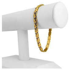 "18k Yellow Gold 12.6g Milor Ladies 6.5mm Fancy Link Bracelet Italy 8"""