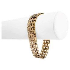 """14k Yellow Gold 21.3g Solid Vintage 15mm Wide Fancy Link Bracelet 7.5"""""""