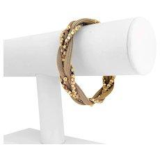 "14k Yellow Gold 23.8g Ladies Vintage 15mm Braided Mesh Fancy Link Bracelet 7.5"""