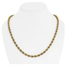 """14k Yellow Gold 20.8g Hollow Thick 5mm Rope Chain Necklace 21.5"""""""