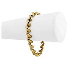 """10k Yellow Gold 12.7g Ladies 7.5mm Macaroni San Marco Link Bracelet 7"""""""