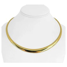 """14k Yellow Gold 30.7g Ladies Graduated 10mm Omega Link Necklace 19"""""""