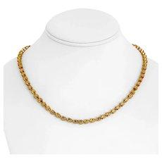 "14k Yellow Gold 18.3g Ladies Diamond Cut 4mm Fancy Heart Link Chain Necklace 18"""