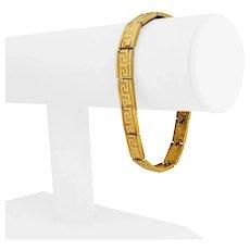 "14k Yellow Gold 18.7g Solid Ladies 8mm Greek Key Link Bracelet 7.25"""