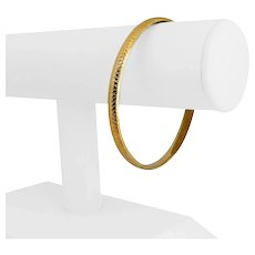 """14k Yellow Gold 6.7g Ladies 6mm Oval Textured Etched Bangle Bracelet 8"""""""