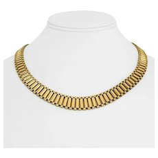 """14k Yellow Gold 63g Solid Heavy Graduated Presidential Link Necklace Italy 18.5"""""""