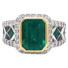 14k Gold and 3ct Zambian Green Emerald and Diamond Cocktail Ring Size 7.25