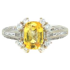 18k White Gold 1.3ct Cushion Yellow Sapphire and .75ctw Diamond Ring Size 6.5