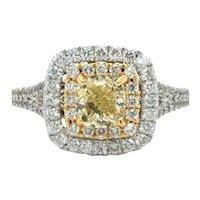 Neil Lane 2.06ctw Yellow Diamond Cushion Double Halo Engagement Ring Size 6.5