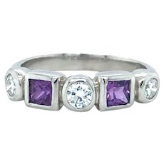 Platinum Vintage Purple Spinel and Diamond Band Ring Size 5