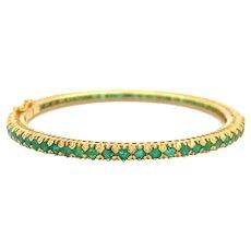 "20k Yellow Gold 15.6g Vintage 7.4ctw Natural Emerald Bangle Bracelet 6.75"""