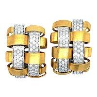 Garavelli 18k Yellow White Gold .80ctw Diamond Lattice Half Hoop Earrings Italy