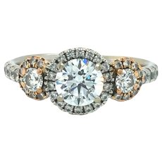 Hearts on Fire 18k Gold Three Stone Diamond Engagement Ring Size 6.75