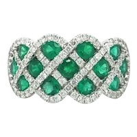 Fana 14k White Gold Emerald and Diamond You and Me Ring Size 9