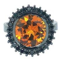 Lyon Fine Jewelry 18k Black Gold Citrine and Black Diamond Halo Ring Size 7