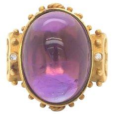 Rudolf Friedmann Etruscan 18k Gold Cabochon Amethyst and Diamond Ring Size 6