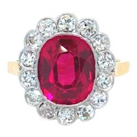 Antique Early 1900's 14k Gold and Platinumn Ruby and Diamond Halo Ring Size 5