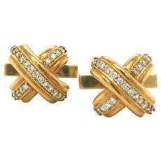 Tiffany & Co. Vintage 18k Yellow Gold and .55ctw Diamond X Cuff Links