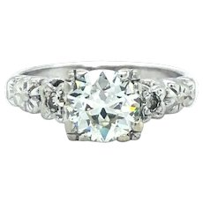14k White Gold Vintage 1ct European Cut Diamond Engagement Ring Size 4.5