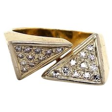 18k Yellow Gold Vintage McTeigue & Co. Bypass Diamond Ring Size 5.5