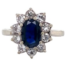 14k White Gold Vintage 1.3ct Oval Sapphire and Diamond Halo Ring Size 3.5