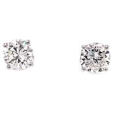 Pair of 1.38ctw Round Brilliant Diamond Solitaire Stud Earrings 14k White Gold