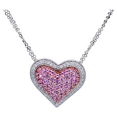GIA Natural No Heat Pink Sapphire and Diamond Heart Necklace 18k Gold