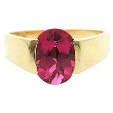 14k Yellow Gold Vintage 1.3ct Oval Pink Tourmaline Ring Size 6.25