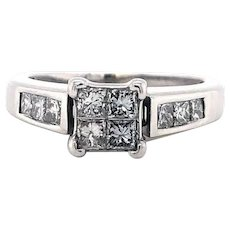 14k White Gold 1cttw Princess Cut Cluster Engagement Ring Size 6.75