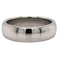 Tiffany & Co. Platinum Polished 6mm Wedding Band Ring Size 8