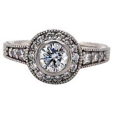 Vintage Platinum and .83cttw Diamond Halo Engagement Ring Size 5.75