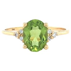 Bony Levy 18k Yellow Gold 1ct Peridot and Diamond Ring Size 5.75