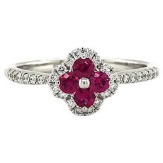 Bony Levy Ruby and Diamond 18k White Gold Clover Ring Size 6.25